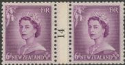 NZ Counter Coil Pair SG 729 1953 6d Queen Elizabeth II Join No. 14 (NCC/202)